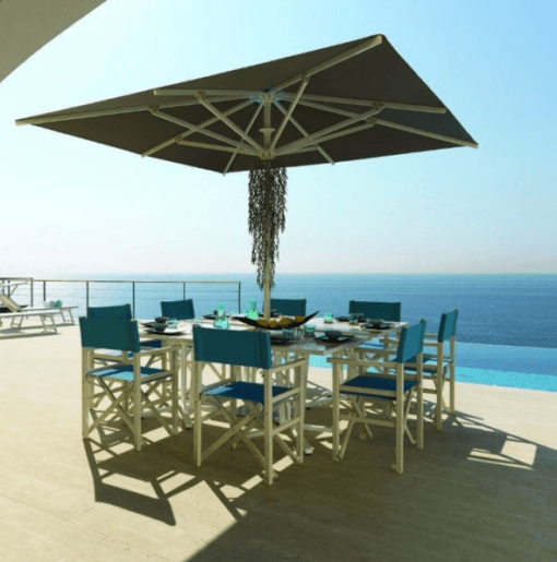 Adonis Luxury Shade Commercial Hospitality Control Remote up to 15ft Square Rectangular Custom order Resorts Mexico Caribbean California Country Clubs aluminum Sunbrella Restaurants