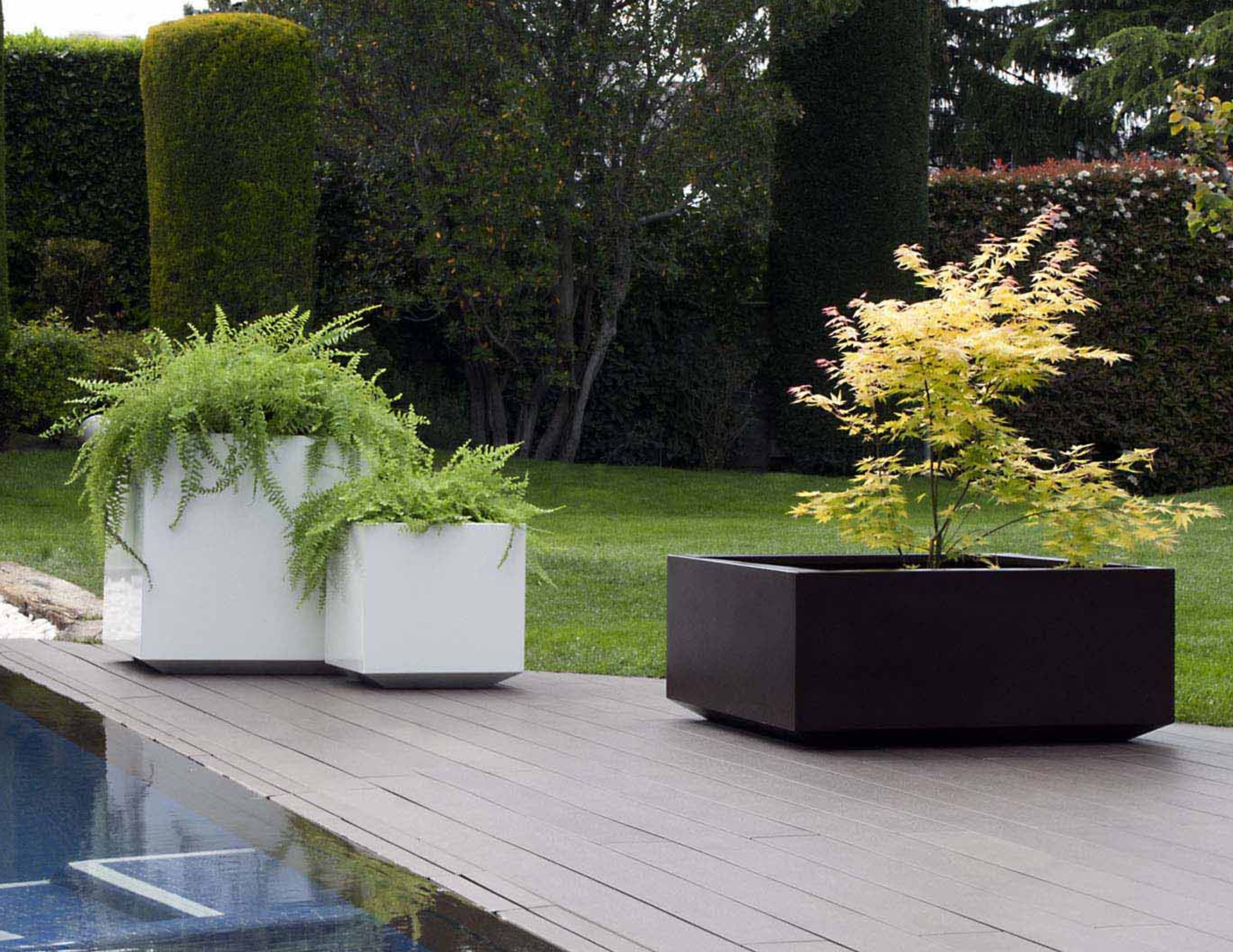 Cube Stainless Steel Planter Custom Colors Couture Outdoor
