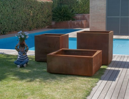 Cube Stainless Steel Planter Custom Colors
