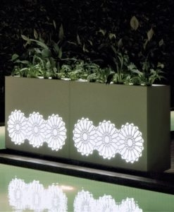 Sunflower Illuminating Separation Wall Stainless Steel Planter