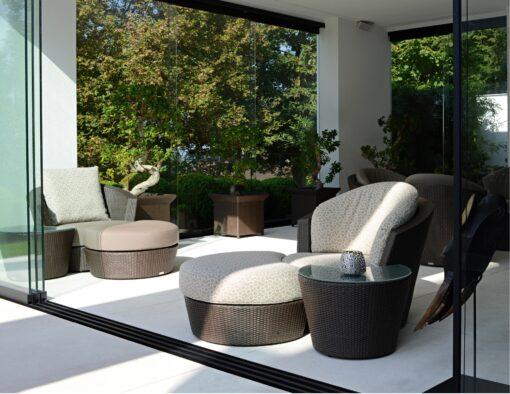 eden roc rausch swivel club lounge chair ottomon nest table wicker rope luxury european design hotel contract ship yacht furniture 5