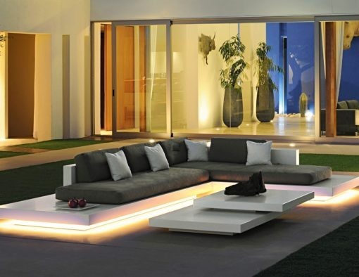 rausch classic international air modern platform sofa white black fiberglass elements configuration couture outdoor luxury contract hotel led luminate light illuminate