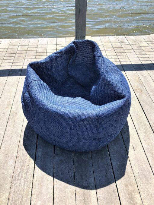 Bean Bag Collection Lounge Chair Tao denim navy blue lux urban trend modern beach farm house hamptons california hotel commercial contract furniture