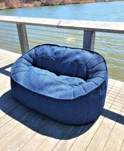 Beanbag love seat denim navy blue lux urban trend modern beach farm house hamptons california hotel commercial contract furniture