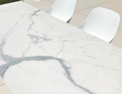 black white ceramic carrera carrara dining table modern luxury large 12 person seating people quartz marble white frame detail