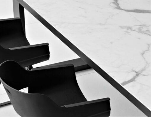 black white ceramic carrera carrara extendable dining table modern luxury large 12 person seating people closeup
