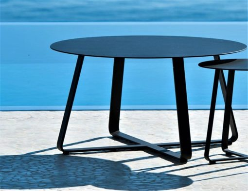 Alfresco Sled Base Dining Table Picnic Bench Chairs Coffee Side Table black white aluminum teak modern beach farm house urban trend hotel contract commercial lux 2