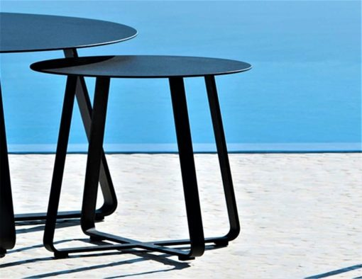 Alfresco Sled Base Dining Table Picnic Bench Chairs Coffee Side Table black white aluminum teak modern beach farm house urban trend hotel contract commercial lux