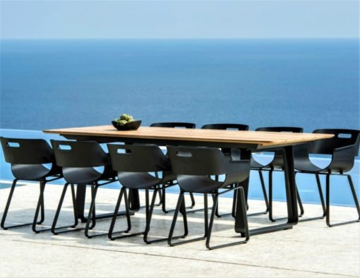 Alfresco Sled Base Dining Table Picnic Bench Chairs black white aluminum teak modern beach farm house urban trend hotel contract commercial lux 4
