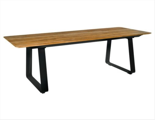 Alfresco Sled Base Dining Table Picnic Bench Chairs black white aluminum teak modern beach farm house urban trend hotel contract commercial lux 5