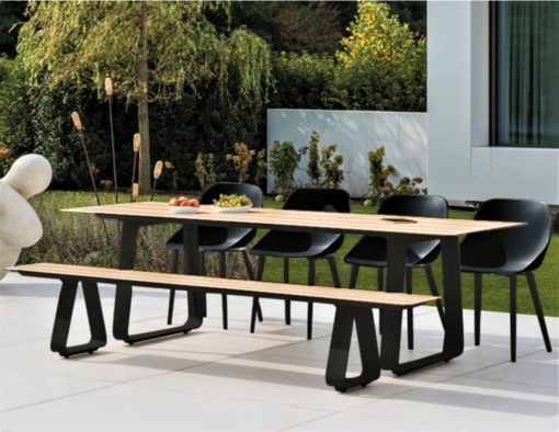 Alfresco Sled Base Dining Table Picnic Bench Chairs black white aluminum teak modern beach farm house urban trend hotel contract commercial lux
