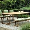 dowel rod teak frame sling strap european luxury design dining chair table bench hamptons palm beach