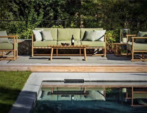 dowel rod teak frame sling strap european luxury design sofa seating lounge area trend hamptons palm beach