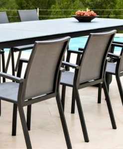 karma dining table glass aluminum black white hotel contract commercial