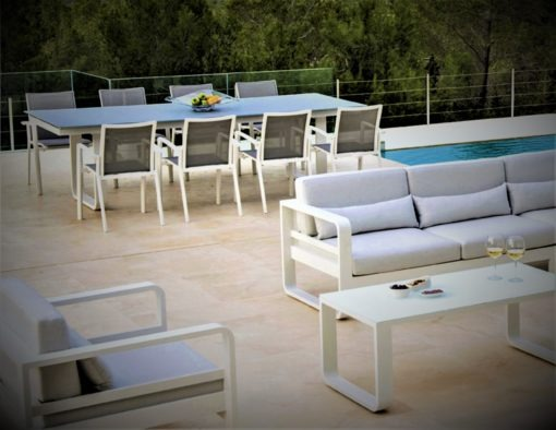 karma dining table glass aluminum black white hotel contract commercial white 2