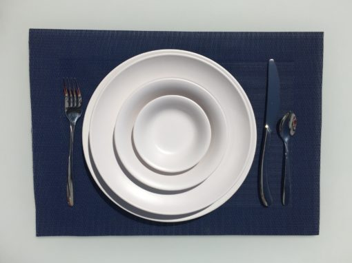 melamine outdoor matt white bowls and plate stacked